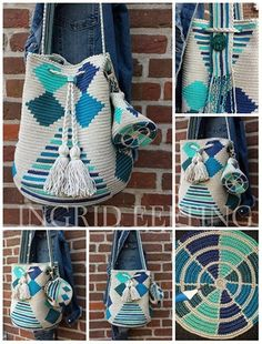 Discover thousands of images about Beach and ocean INCLUSIEF portemonneetje Designer Knitting Patterns, Tapestry Crochet Patterns, Crochet Dolls Free Patterns, Crochet Case, Thread Crochet, Diy Crochet, Mochila Crochet, Tapestry Bag, Boho Bags