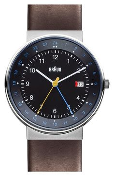 Braun 'Classic - Dual Time' Leather Strap Watch, 40mm available at #Nordstrom