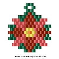 Free Christmas Poinsettia Earring Charm Brick Stitch Bead Pattern