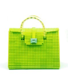 This lime AGABAG tote is a chic choice for everyday use. It is handcrafted with LEGO bricks. Its interior is generously proportioned to fit all of your daily essentials, including an iPad and work documents. Lego Bag, Christmas Gifts 2016, Bags 2015, Lego Brick, Hermes Birkin, Hermes Kelly, Handbags, The Originals, Lime