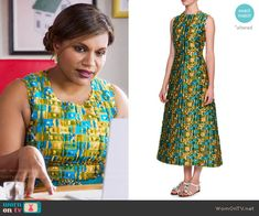 Mindy's blue and yellow textured dress on The Mindy Project.  Outfit Details: https://wornontv.net/60534/ #TheMindyProject