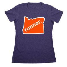 Womens Everyday Runners Tee Oregon Runner (Orange/White) | Running Womens Cotton Tshirts