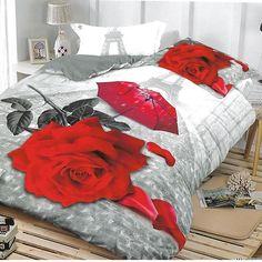 Lenjerie 3D Bumbac Satinat - 4 Piese - Pat 2 Persoane - Courtney Comforters, 3d, Blanket, Furniture, Home Decor, Creature Comforts, Quilts, Decoration Home, Room Decor