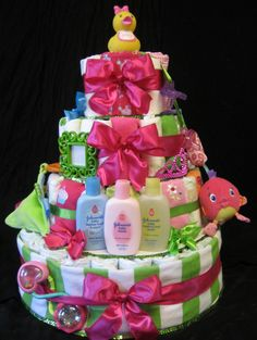 Diaper Cake for Amber's Baby Shower.