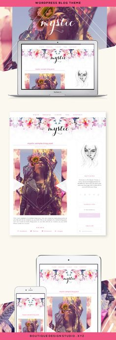 Mystic WordPress Theme by Boutique Web Design Studio | Ideal for a fashion personal blog, lifestyle blog, hippie blog, boho blog or spiritual blog. A feminine and boho WordPress theme that that displays beautifully on any device.