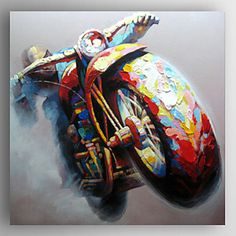 Oil+Painting+a+Man+Riding+Motorbike+by+Knife+Hand+Painted+Canvas+with+Stretched+Framed+–+EUR+€+73.49