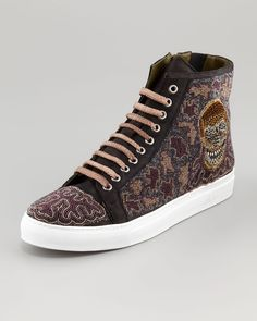 7f2d794315a Donald J Pliner Lajos Skull Beaded High-Top Sneaker