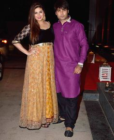 Vivian Dsena and Vahbiz Dorabjee at Ashish Chowdhry's #Diwali bash. #Bollywood #Fashion #Style #Beauty #Desi