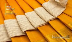 How to make your mustard #Kanjivaram pop in terms of colour ? Presenting from our One Metre Magic section, an elegant off-white blouse material, in handspun #khadi, decorated with #golden checks.