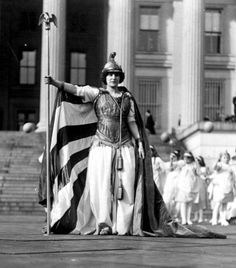 "Detail of actress Hedwig Reicher as ""Columbia,"" leading an allegorical pageant that included Justice, Charity, Liberty (Florence F. Noyes), Peace, and Hope."