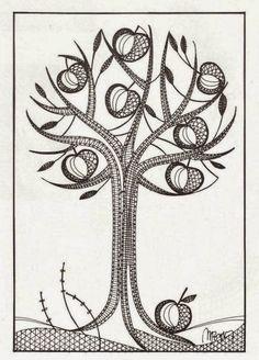 Manzano Hairpin Lace Crochet, Crochet Motif, Crochet Edgings, Crochet Shawl, Bobbin Lace Patterns, Bead Loom Patterns, Bobbin Lacemaking, Tree Patterns, Lace Making