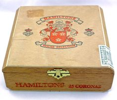 Hamiltons Cigar Box,Wood,Made in Dominican Republic,Import Stickers
