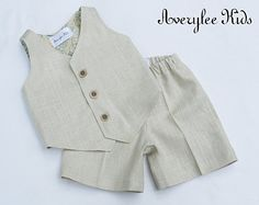 Boys Linen Suit,  Boys Natural Linen Suit, Vest and Shorts, Ring Bearer Outfit, Baptism Outfit, White, Natural, Brown, Page Boy Outfit