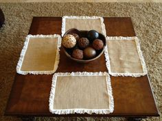 DECORATING WITH BURLAP AND LACE   Burlap and Lace Placemats Set of 4 by thebirdsofaheather on Etsy