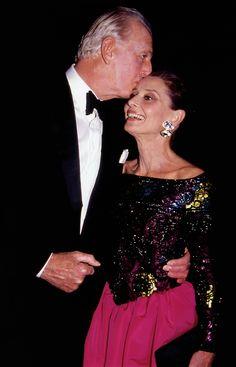 Hubert de Givenchy and Audrey Hepburn at the Night of Stars gala, photographed by Rose Hartman, Waldorf Astoria, New York, 1991.