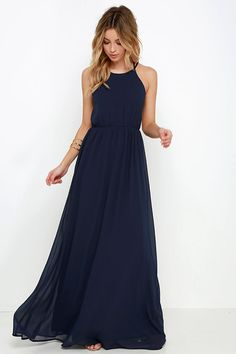 20 erstaunliche Marine-Blau-Brautjungfernkleid-Ideen Go with a the most appropriate attendant gown pertaining to Midnight Blue Bridesmaid Dresses, Navy Blue Bridesmaid Dresses, Midnight Blue Gown, Sexy Maxi Dress, Maxi Dresses, Long Dresses, Tie Dress, Chiffon Dress, Party Wear
