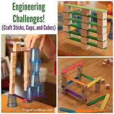 4 Engineering Challenges for Kids - Craft Sticks, Plastic Cups, and Wooden Cubes
