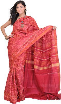 Sangria-Red Patan Patola Sari Hand-woven in Gujarat
