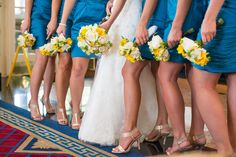 Blue bridesmaid dresses and yellow bouquets - Aqua Blue and Brown Country Wedding Lake Mirror Complex Lakeland – Lakeland Wedding Photographer Jeff Mason Photography Tan Wedding, Wedding Stuff, Wedding Flowers, Dream Wedding, Blue Bridesmaid Dresses, Bridesmaids, Wedding Dresses, When I Get Married, Getting Married