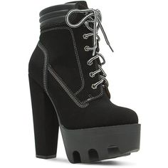 Tread Ruggedly Chunky Lug Booties ($32) ❤ liked on Polyvore featuring shoes, boots, ankle booties, chunky black boots, black boots, chunky-heel boots, chunky ankle booties and black booties