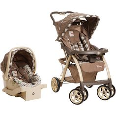 Travel safely and in style with your baby when you use this Saunter Luxe Travel System by Disney. The travel system includes a handy Saunter Luxe stroller and secure Comfy Carry Elite Plus car seat in a beloved Winnie the Pooh theme.