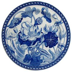 Wedgwood Pearlware Water Lily Plate c.1810-15. This beautiful plate with its graphic representation of water lilies was a popular pattern at the beginning of the 19th century. It was produced in in blue, as seen here, and in brown, a service of which was owned by Charles Darwin.