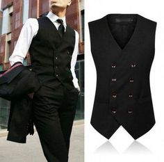 about Mens Vintage Waistcoat Gray Black Slim Fit Formal Casual Vest Double-breasted Mens Vintage Waistcoat Gray Black Slim Fit Formal Casual Vest Double-breasted Mens Fashion Suits, Mens Suits, Mode Vintage, Vintage Men, Vintage Shoes, Vintage Style, Formal Casual Mens, Formal Vest, Men's Waistcoat