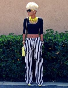 Perfect.. Blonde Hair, Black & Yellow Shades, Black & White Striped Pants, Black Crop Top, Yellow Shoulder Bag.. .Wiz (;