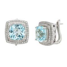 Sky Blue Topaz And White Topaz Cushion Framed 10kt Earrings