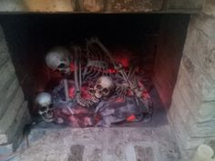 halloween skeleton fireplace - Cassadaga Halloween