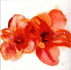 Watercolour Art Notecards Orange Red Amaryllis by cardsbymormorjan