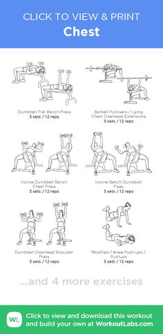 Chest – click to view and print this illustrated exercise plan created with #WorkoutLabsFit