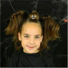 Wacky and fun bat hairstyle! So cute for Halloween or crazy hair day even! Crazy Hair For Kids, Crazy Hair Day At School, Crazy Hair Days, Holiday Hairstyles, Cute Hairstyles, Braided Hairstyles, Halloween Hairstyles, Whacky Hair Day, Bright Purple Hair