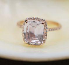 Rose gold engagement ring. Peach sapphire 3.47ct by EidelPrecious