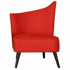 """Asymmetrical accent chair with flaring legs and red upholstery. Product: ChairConstruction Material: Microfiber, flame-retardant foam and woodColor: Red  Dimensions: 39"""" H x 28"""" W x 25"""" DCleaning and Care: Keep furniture out of direct sunlight to avoid sun and light damage and color bleaching. Use a wood cleaner or protection agent to remove dirt and grime and restore the sheen to the wood finish."""