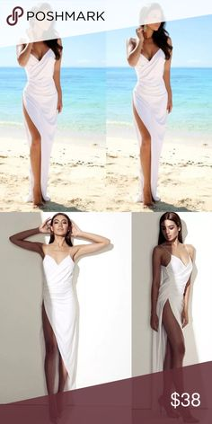 Sexy White High Slit Dress Gorgeous white dress with high slit and spaghetti straps. Best fit small-medium. Dresses Asymmetrical