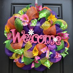 Bright Multicolored Summer Welcome Wreath Summer Deco Mesh Wreaths at The Wreath Shop