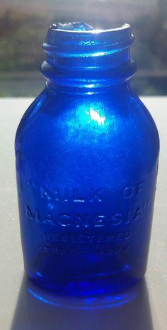 Milk of Magnesium Cobalt Blue Medicine Sea Glass Bottle by SeaFindsScotland Rare Scottish Beach Finds Genuine Blue Sea Glass by SeaFindsScotland on Etsy Cobalt Glass, Cobalt Blue, Sea Glass, Old Glass Bottles, Bottles And Jars, Color Blue, Colour, Old Fashioned Glass, Highball Glass