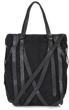 TopShop Womens Strappy Suede and Leather Tote - Black