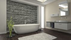 bodenbelag bad badideen weißer teppich steinwand akzentwand