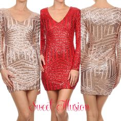 All over sequined, long sleeve, bodycon fit mini dress with v-neck
