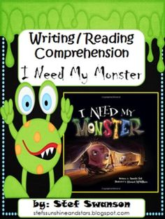 {Writing/Reading Comprehension}   {I Need My Monster} Descriptive Writing Bubble Map, Sentence Structure Tree Map, Retelling, Main Character/Setting and more! Great mini-lesson to supplement your writing program!