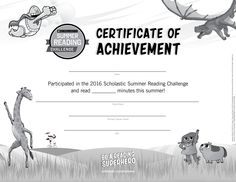 Once the summer is over and kids have reached their goal for summer reading, reward them with this certificate of achievement! Click through to learn more about the Scholastic Summer Reading Challenge! #summerreading