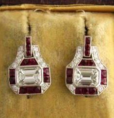 Ruby and Diamond Art Deco Earrings Art Deco Earrings, Art Deco Jewelry, Fine Jewelry, Jewelry Design, Jewellery, Art Deco Fashion, Fashion Jewelry, Funky Fashion, Fashion Wear
