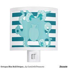 Octopus Blue Bold Stripes Night Light