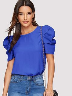 Shein Solid Keyhole Back Puff Sleeve Top Pop Fashion, Fashion News, Fashion Outfits, Womens Fashion, Blouse Styles, Blouse Designs, Types Of Sleeves, Blouses For Women, Women's Blouses