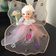 Vintage Pink Tule Netting Christmas Xmas Angel Tree Topper Ornament Ceramic Head