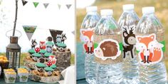 Woodland Creatures - Birthday Party Theme - water bottles with burlap and animals