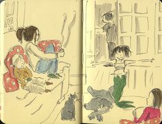 Angie Stevens is a mother of three who has doodled a pic of her family every night since her 2-year-old son was born.    She spends roughly 20 minutes capturing the day's moments – tantrums, pizza-making, haircuts — then posts them to her blog, Doodlemum, where she has amassed some 700 mini memories.