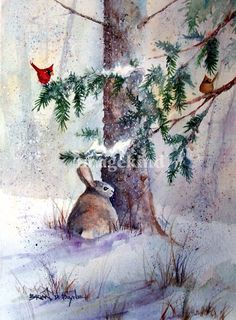 Bunny and Cardinals  by Brian Payne (watercolor) Print available for purchase ---*--- Love the male and female cardinals.  Like the splatter effect and also the pop of snow on the tree branches.